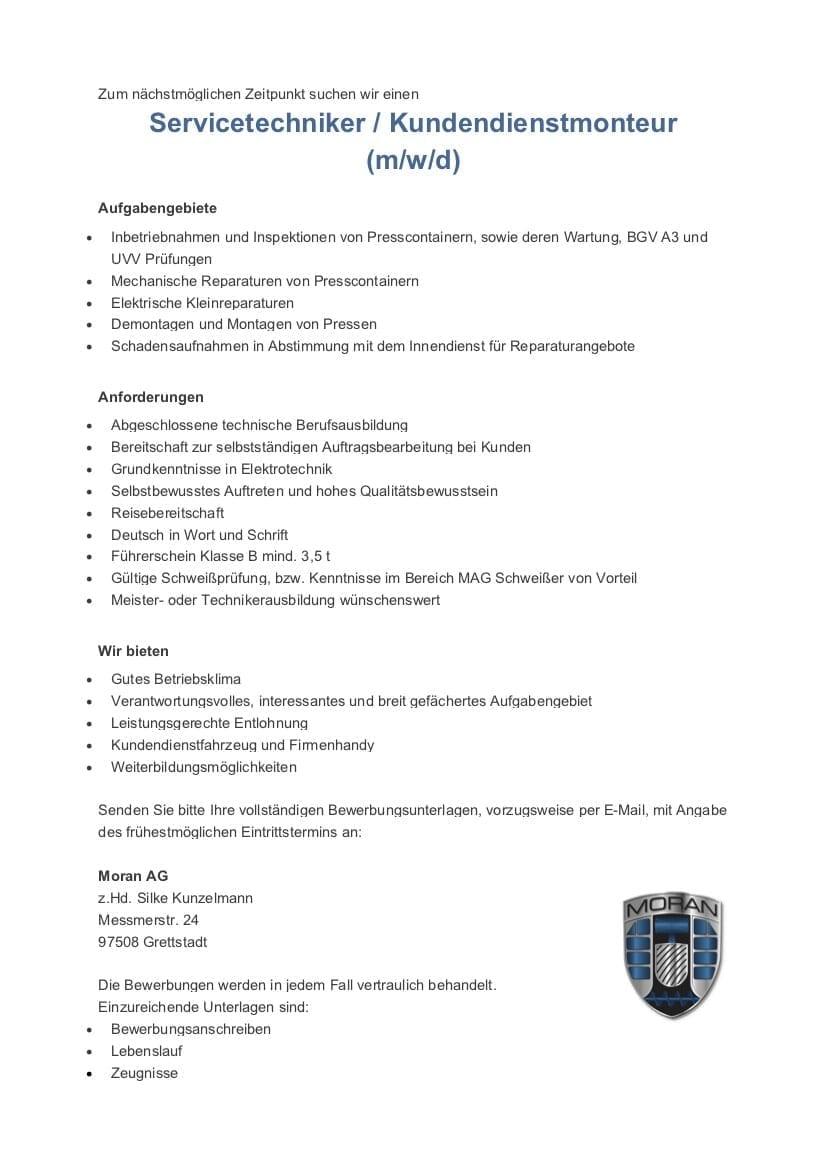 Stellenanzeige Kundendienst - Stellenanzeige Kundendienstmonteur