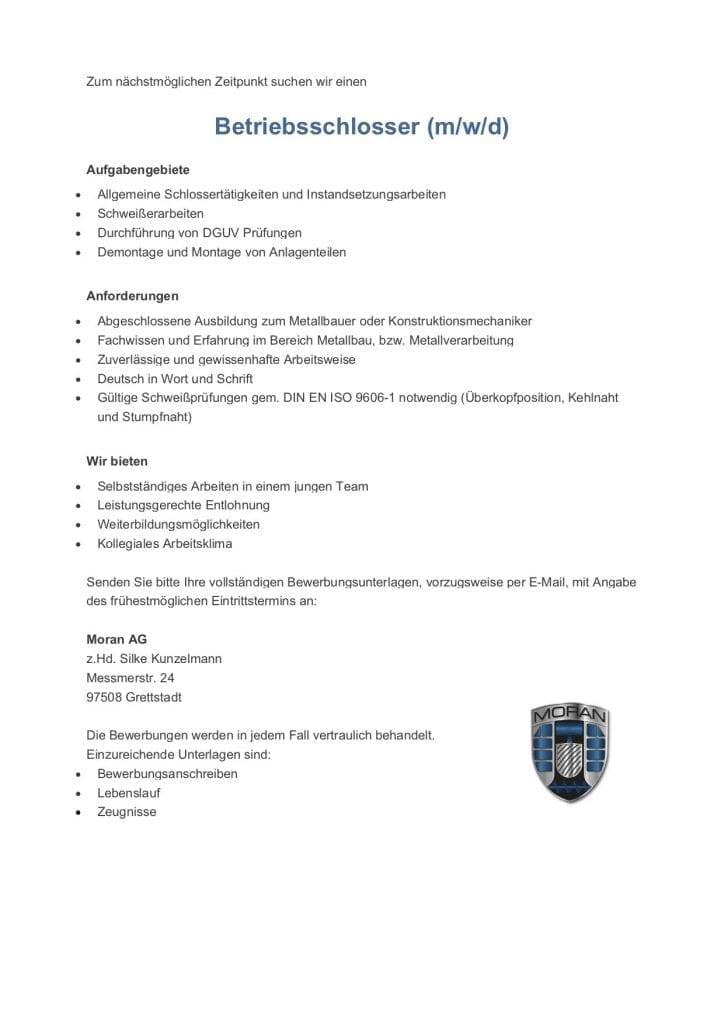 Stellenanzeige Schlosser 724x1024 - Stellenanzeige Schlosser und Schweißer