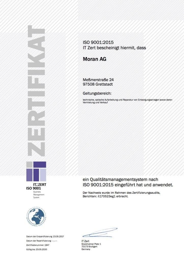 ZERT ISO9001 2015 Moran AG 723x1024 - Zertifikat