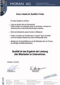 Qualitätspolitik Moran AG 212x300 - Unsere Qualitätspolitik