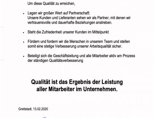 Die Qualitätspolitik der Moran AG
