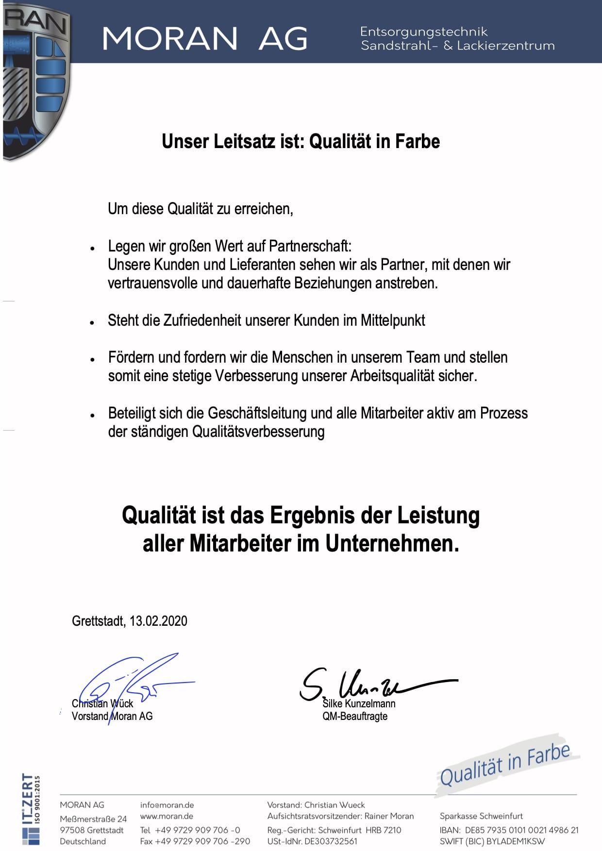Qualitätspolitik