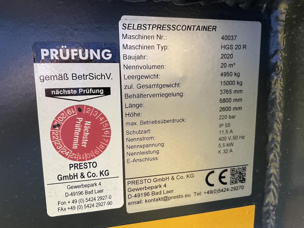 IMG 0065 - Presscontainer HGS 20 Presto int. HKV #40037