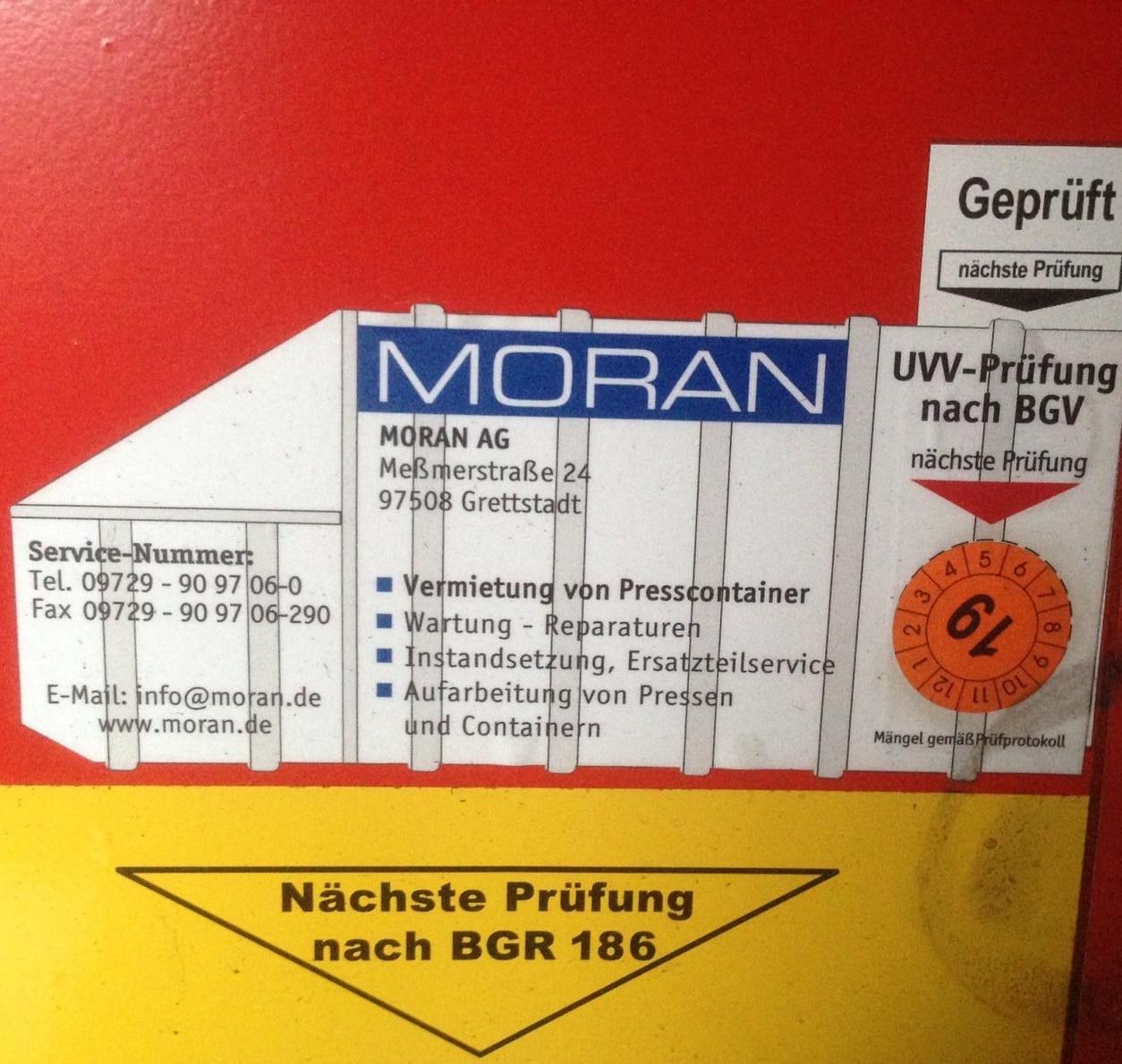 Wartungsaufkleber - Presscontainer und Container zum mieten oder kaufen