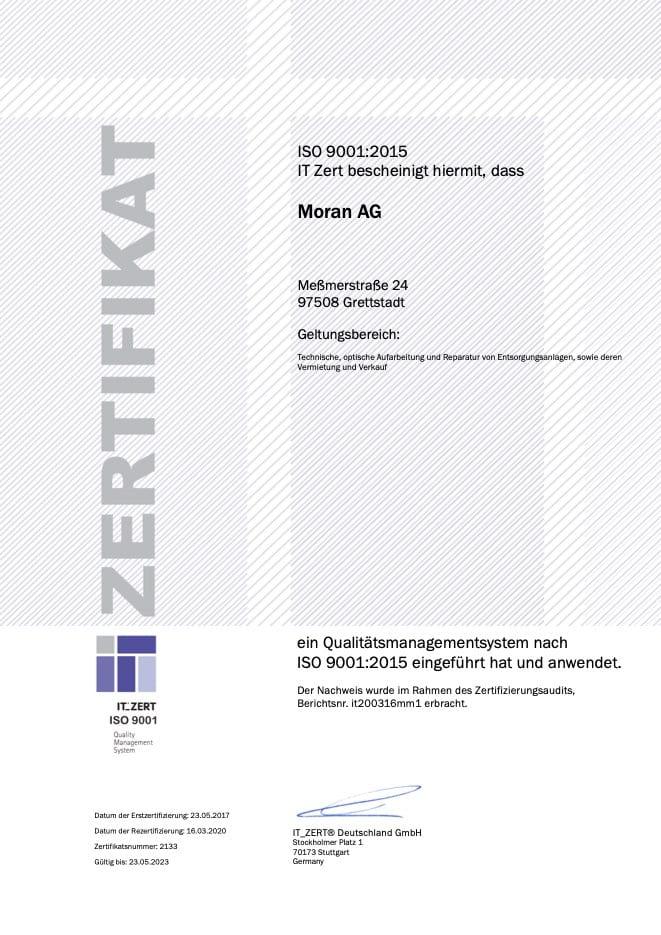 ZERT ISO9001 2015 Moran AG - Rezertifizierung nach ISO 9001:2015