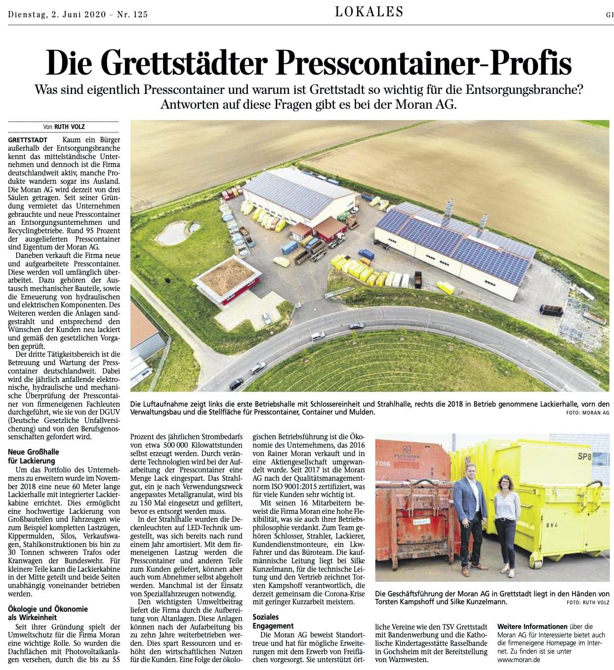 Moran AG Presse - Pressebericht Main Post